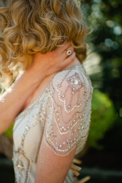 chic cap sleeves with beading and sequins