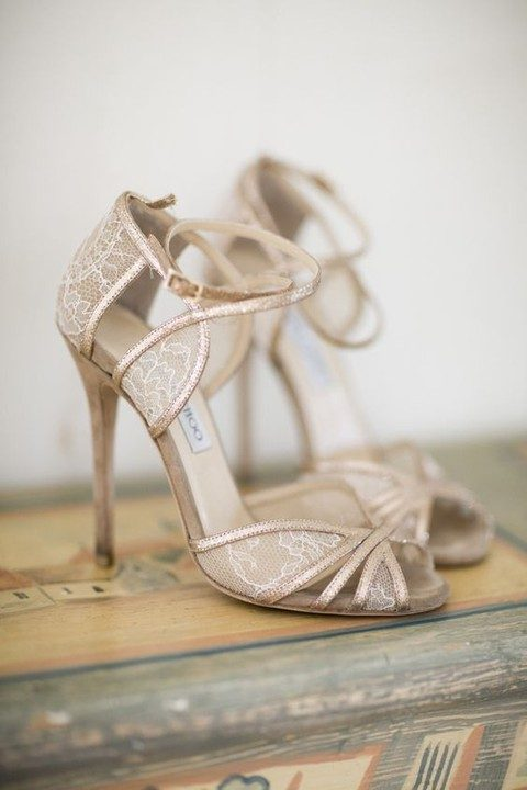chic nude lace ankle strap heels