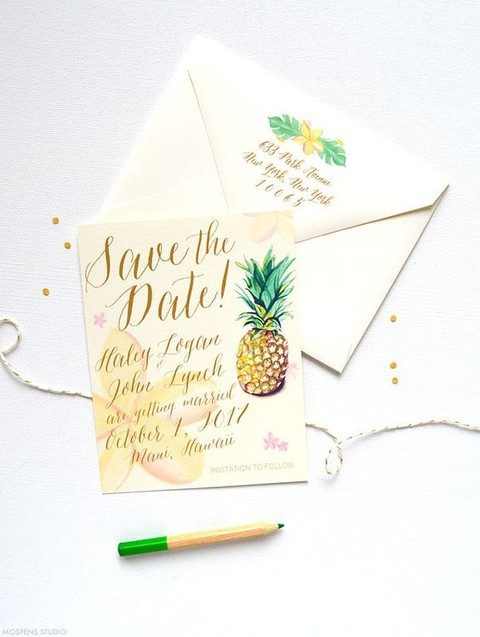 colorful drawn pineapple save the dates