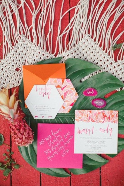 colorful geometric wedding invites