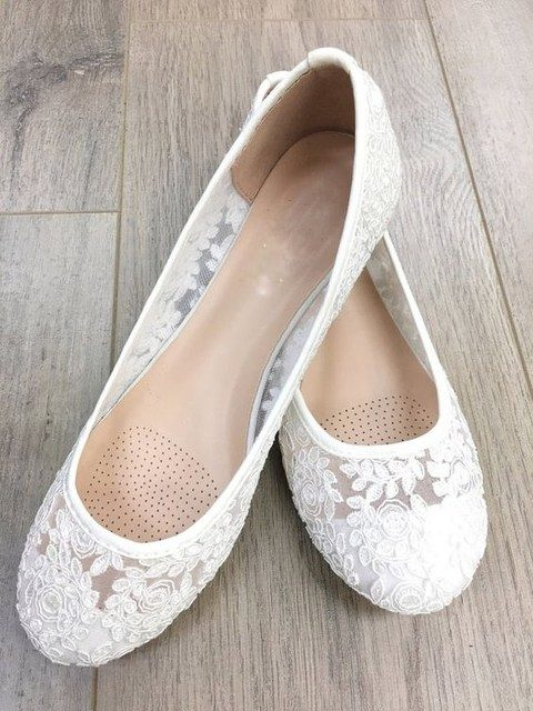 comfy sheer white lace flats