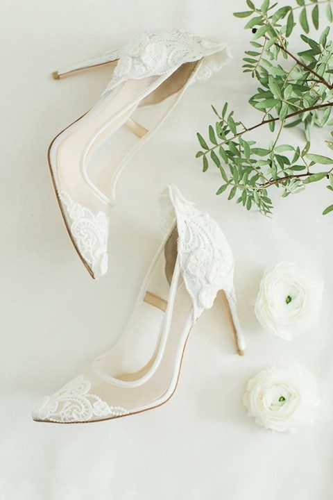 delicate white lace bridal heels with sheer parts