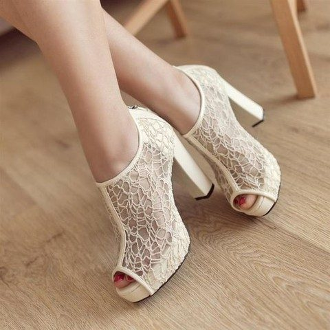 eye-catchy ivory lace peep toe booties with comfy heels