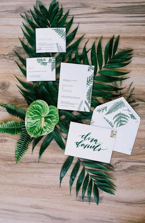 fern and foliage tropical invites