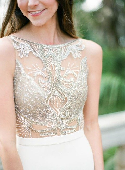 glam sheer + beaded wedding dress bodice