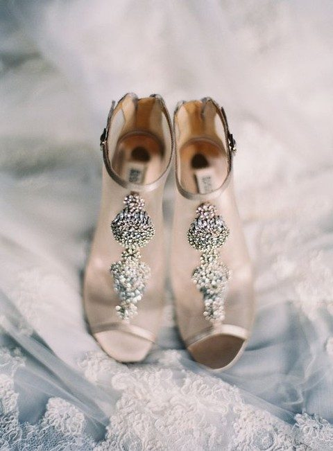 glam sheer wedding booties with sparkling bead decor