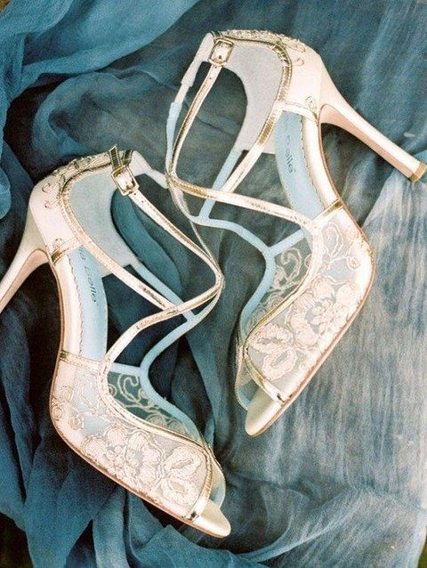 gold lace wedding shoes with peep toes andankle straps