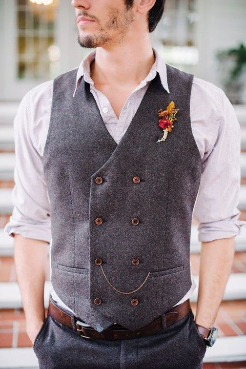 grey pants and a waistcoat, a white shirt