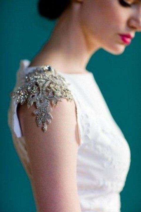heavily beaded and rhinestone cap sleeve