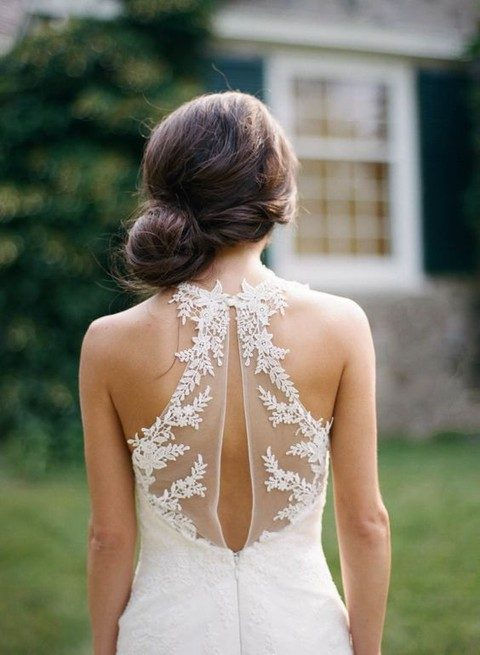 illusion back with lace appliques
