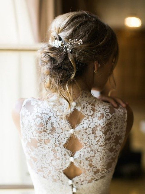 illusion lace back with buttons