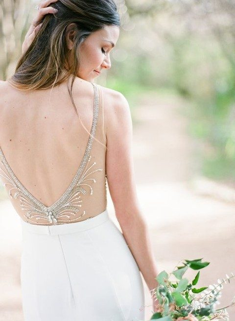 illusion sheer back with beading