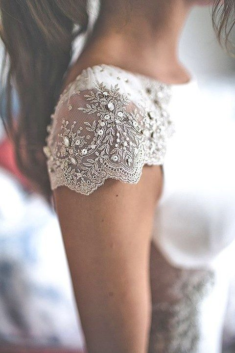 lace and beading cap sleeves
