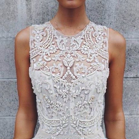 lace applique heavily beaded dress bodice
