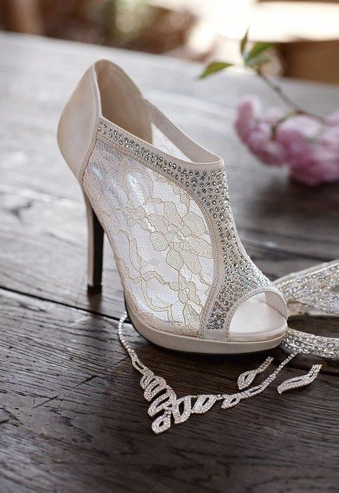 lace bejeweled peep toe booties look chic