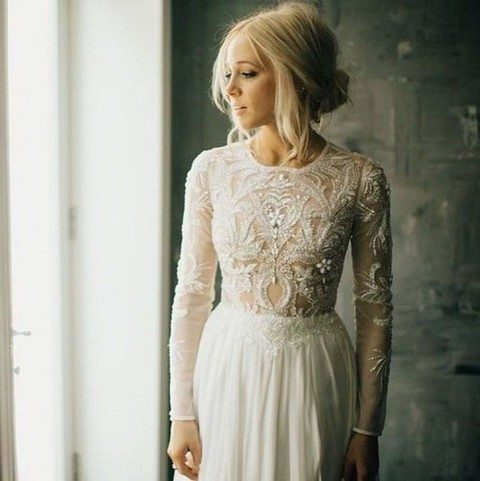 long sleeve bodice with lace appliques and beading all over