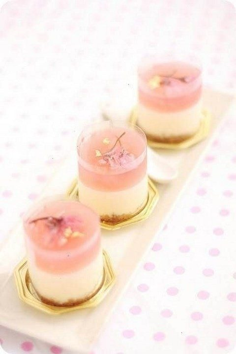 mini cherry blossom cheesecakes in jars