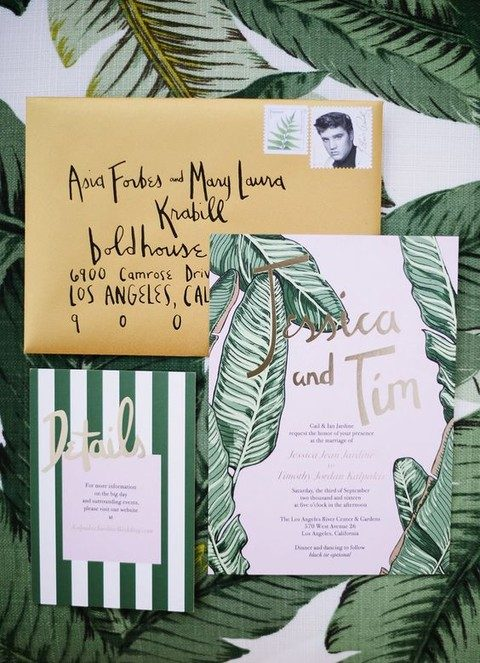 modern boho wedding stationary with stylized palm leaves