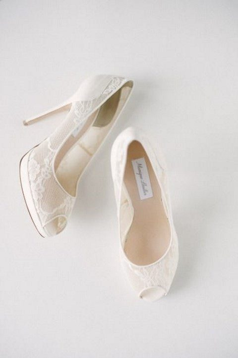 neutral lace wedding shoes with peep toes