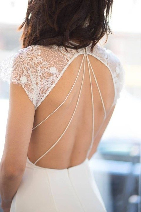open back with lace shoulders and a cool line detail