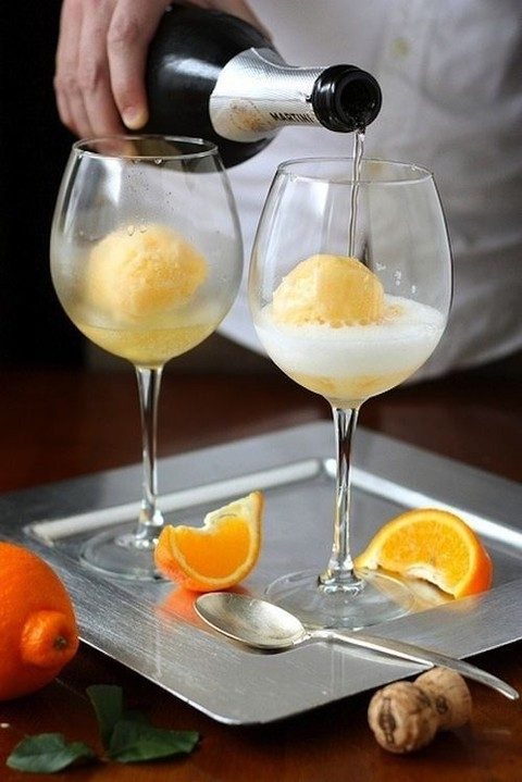 orange sorbet and martini