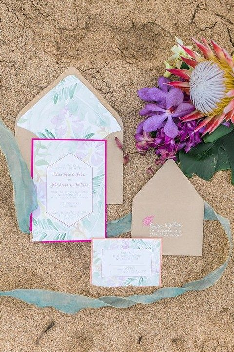 pale watercolor wedding invitations and kraft paper envelopes