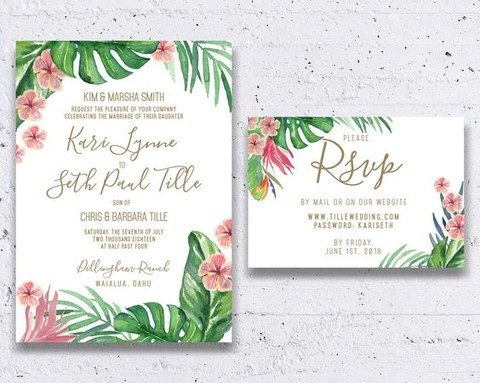 palm leaves and tropical blooms with gold letters