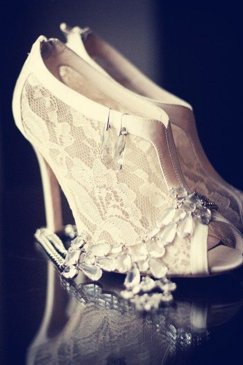 peep toe booties with lace and a satin edge