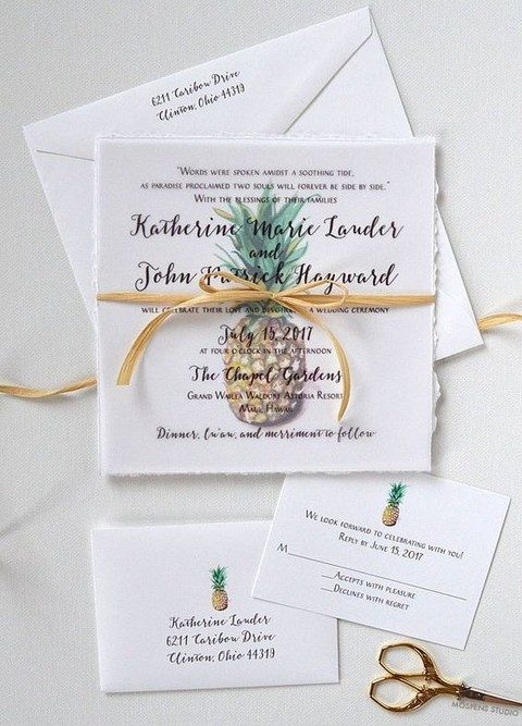 pineapple images and prints on the invitation suite