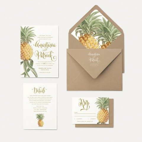 pineapple print wedding invites and kraft paper envelopes