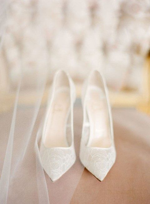 pure white lace shoes with pointy toes