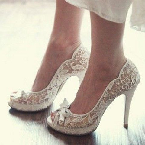 sheer lace peep toe wedding shoes with bows on top