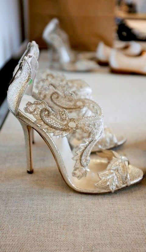 sparkly gold lace heels with peep toes and cutouts