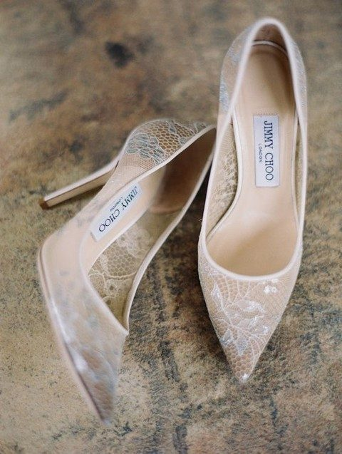 stylish neutral lace pointed wedding shoes