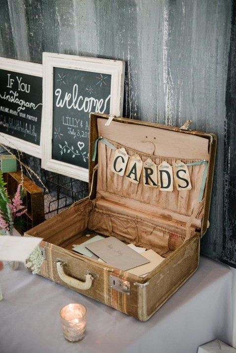 vintage suitcase with a banner