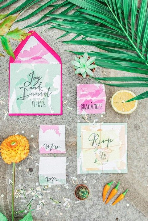 watercolor wedding invitations in pink