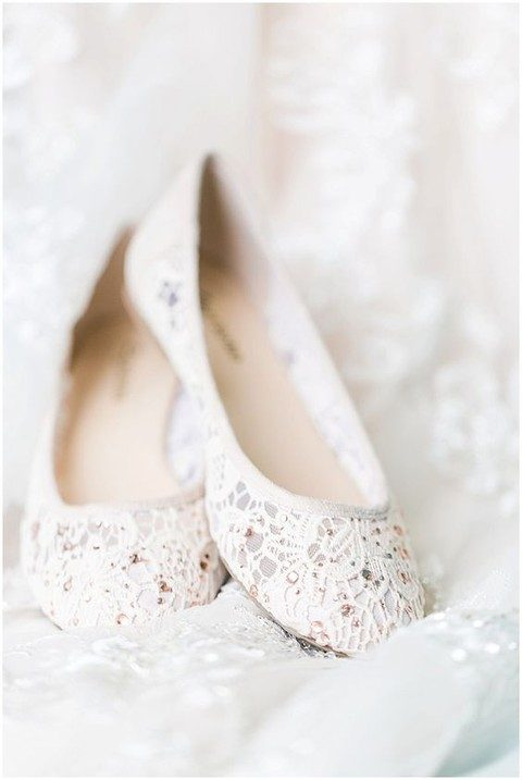 white lace and sparkling beads wedding flats