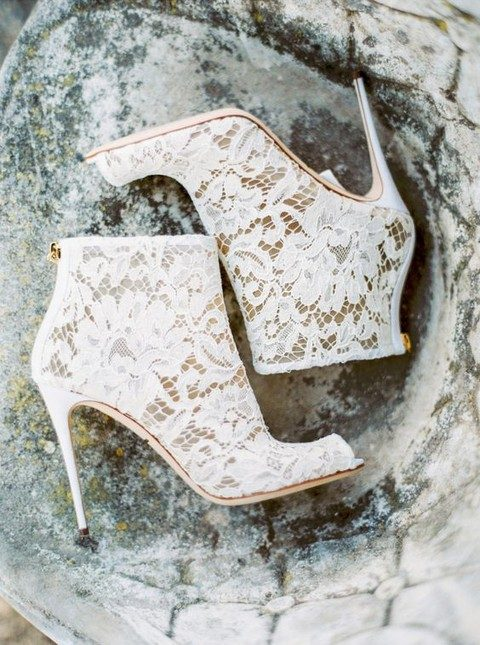 white lace peep toe boots