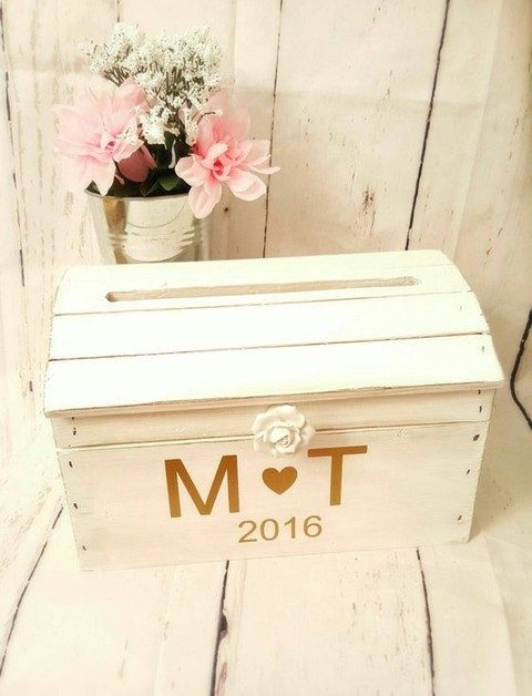 whitewashed wedding card box with a flower