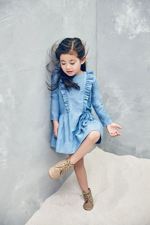 a denim dress and vintage booties for the flower girl