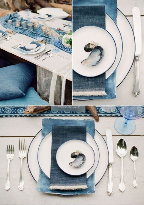a denim napkin for a coastal place setting