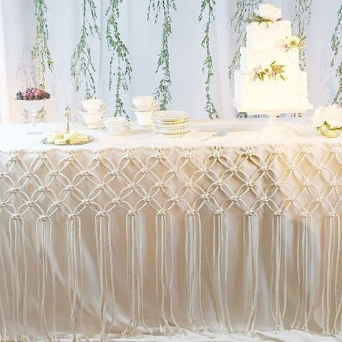 a macrame tablecloth for the dessert table