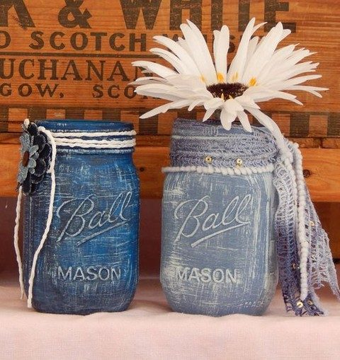 blue denim painted jars can be used as vases