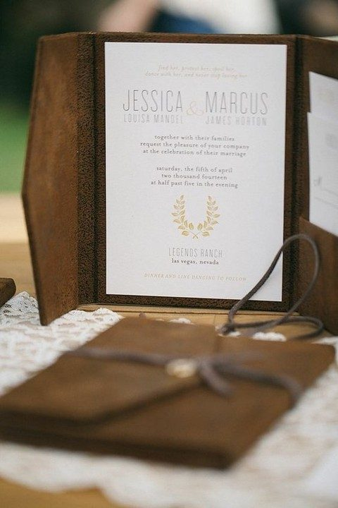 classy leather to suede brown wedding invitation