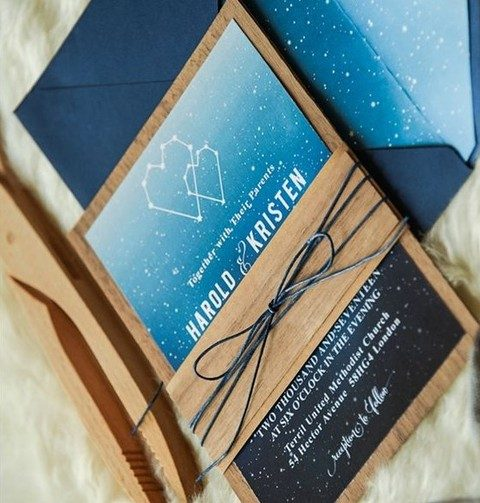 constellation and wood print wedding invitation suite