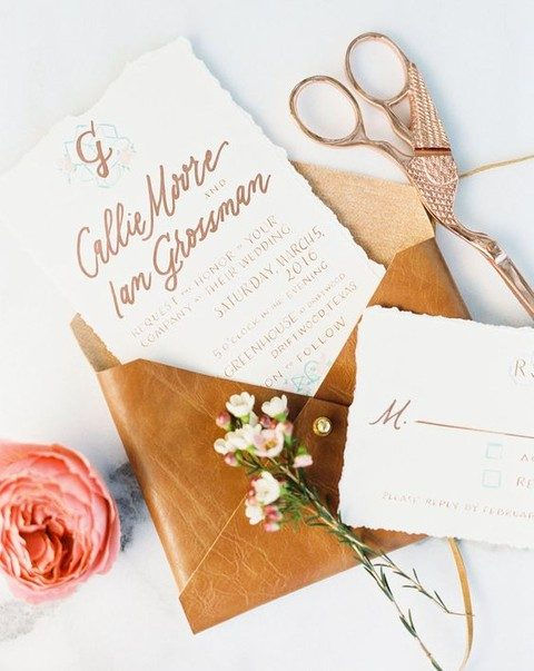 custom calligraphy wedding invitation, leather envelope
