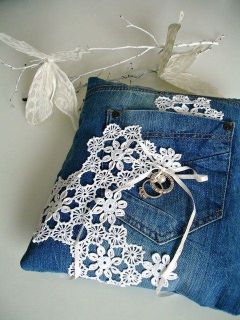 denim and lace ring pillow