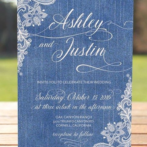 denim and lace wedding invitations
