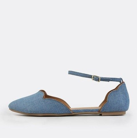 denim ankle flats with a scallop edge