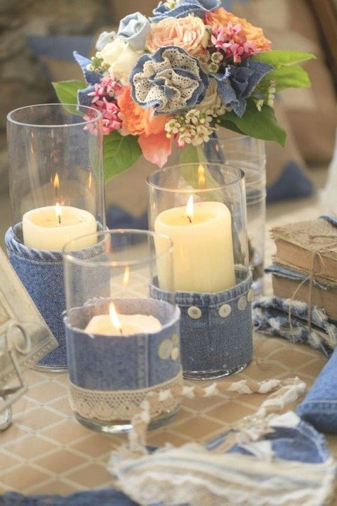 denim, buttons and lace covered candle holders